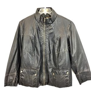 BIG CHILL Faux Leather Black Moto Style Jacket